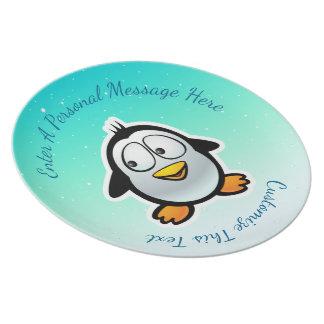 Cool Penguin Cartoon Dinner Plate
