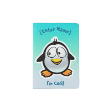 Cool Penguin Cartoon Passport Holder