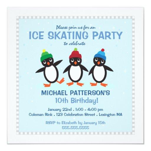 "Cool Penguin Ice Skating Birthday Party Invitation 5.25"" Square Invitation Card"