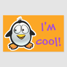 Cool Penguin Rectangular Sticker