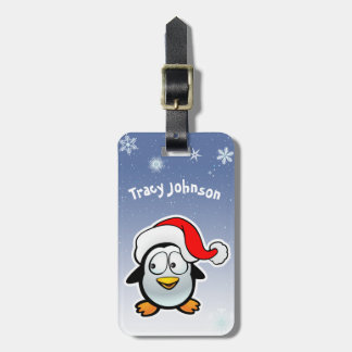 Cool Penguin With Santa Hat Bag Tag