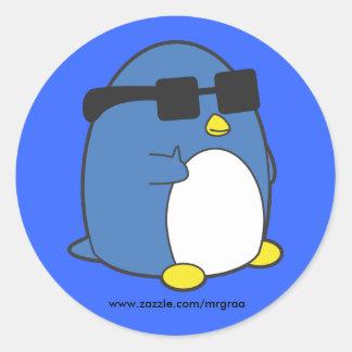 Cool Penguino Classic Round Sticker