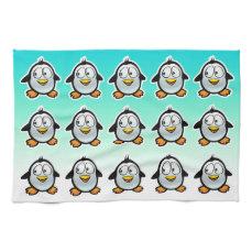 Cool Penguins Cartoon Kitchen Towel