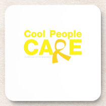 Cool People Care Childhood Cancer Awareness Beverage Coaster