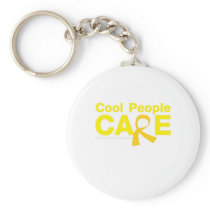 Cool People Care Childhood Cancer Awareness Keychain