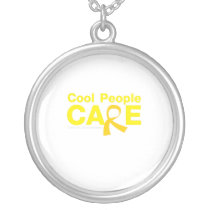 Cool People Care Childhood Cancer Awareness Silver Plated Necklace