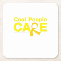 Cool People Care Childhood Cancer Awareness Square Paper Coaster