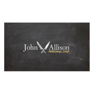 Cool Personal Chef Knife Catering Chalkboard Business Cards