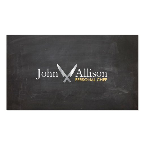 Cool, Personal Chef, Knife, Catering Chalkboard Business Cards