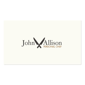 Cool Personal Chef Knife Logo Simple Catering Business Cards