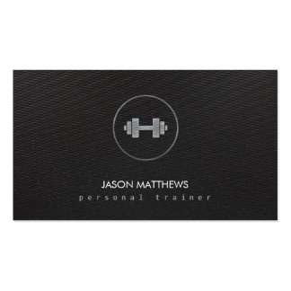 Cool Personal trainer Dumbbell Logo Black Business Card
