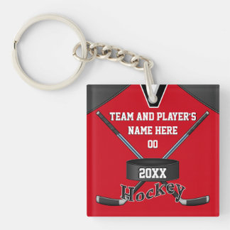 Cool Personalized Hockey Gifts, Your TEXT, COLORS Double-Sided Square Acrylic Keychain