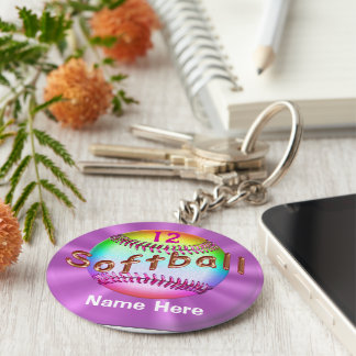 Cool PERSONALIZED Multicolor Softball Keychains