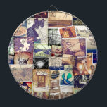 """Cool Photo Filter Hipster Collage Dartboard With Darts<br><div class=""""desc"""">This groovy vintage style epic collage design features fun filtered style photographs. Make a scene have an adventure and get yourself an awesome photo collage shirt or gift today.</div>"""