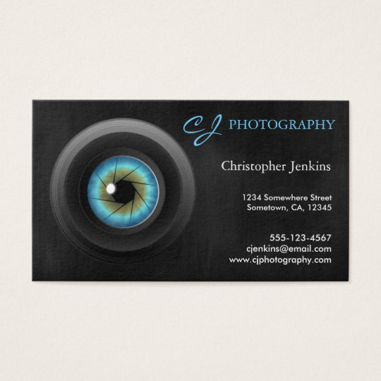 Cool photography blue eye camera lens photographer for Cool photography business card