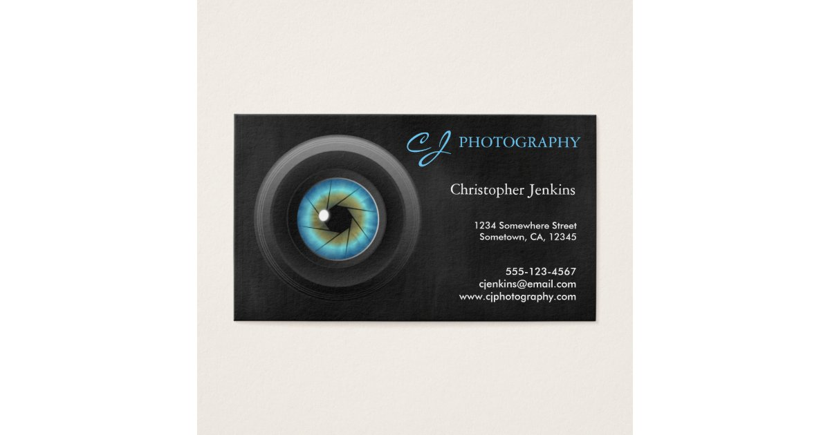 Cool Photography Blue Eye Camera Lens Photographer Business Card ...