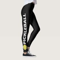 Cool Pickleball Leggings Yellow Ball Custom Text