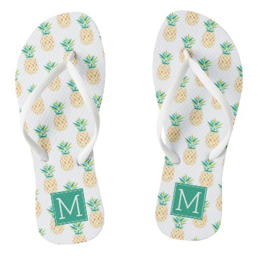Beach Themed Cool Pineapples Monogrammed Flip Flops