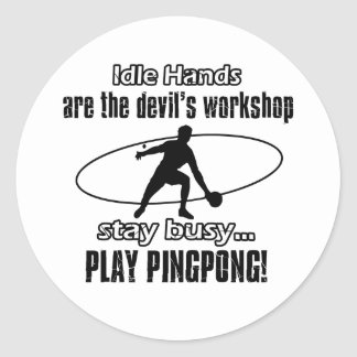 Cool ping pong designs classic round sticker