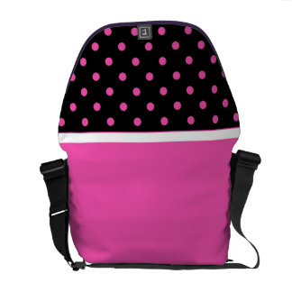 Cool pink and black, polka dots. Add your name Courier Bag