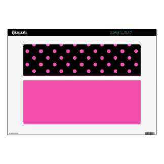 Cool pink and black, polka dots. Add your name Laptop Skin