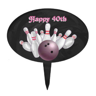 Cool Pink Bowling Ball Party Cake Topper