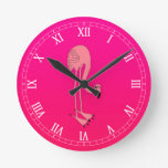 Cool Pink Cartoon Flamingo Wall Clocks
