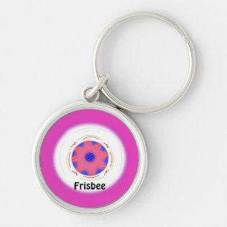 Cool Pink Frisbee Design Keychain
