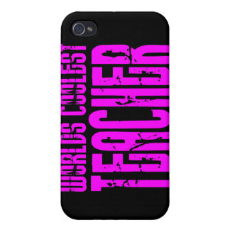 Cool Pink Gifts 4 Teachers Worlds Coolest Teacher iPhone 4 Cover