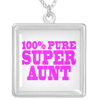 Cool Pink Gifts for Aunts : 100% Pure Super Aunt Silver Plated Necklace