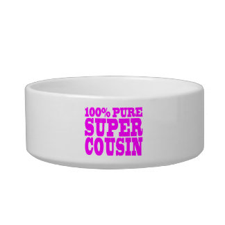 Cool Pink Gifts for Cousins : Super Cousin Pet Food Bowl