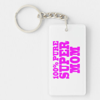Cool Pink Gifts for Moms : Super Mom Double-Sided Rectangular Acrylic Keychain