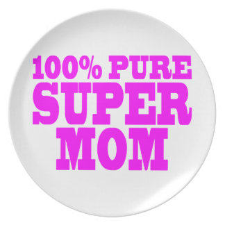 Cool Pink Gifts for Moms Super Mom Party Plate