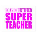 Cool Pink Gifts for Teachers : Super Teacher Postcard
