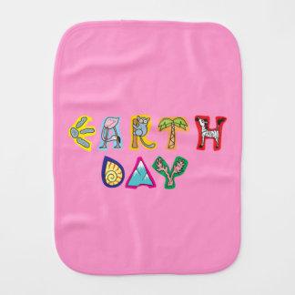 Cool Pink Girl Earth Day Custom Baby Burp Cloth