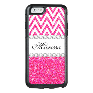 Cool Pink Glitter Classic Cool White Chevrons OtterBox iPhone 6/6s Case