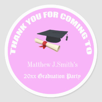 Cool pink graduates thank you stickers. classic round sticker