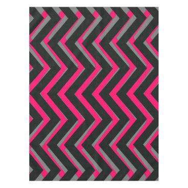Halloween Themed Cool pink grey black Chevron  tablecloth