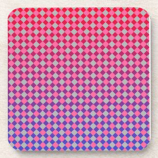 Cool pink grey red and blue diamonds design coaster