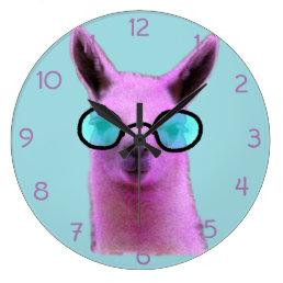 Cool Pink Llama! Large Clock
