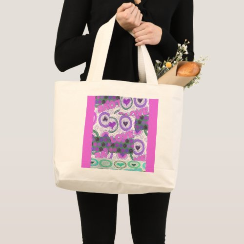 Cool Pink Lovely hearts Large Tote Bag