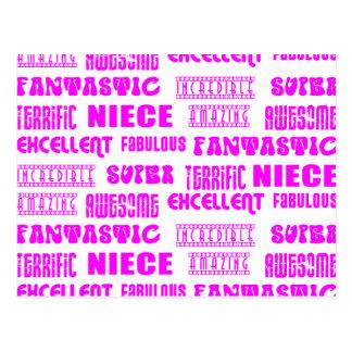 Cool Pink Modern Design 4 Nieces Positives Words Postcard