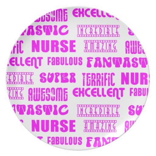 Cool Pink Modern Design 4 Nurses  Positive Words Plate