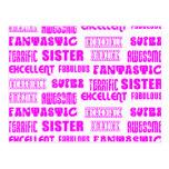 Cool Pink Modern Design 4 Sisters Positives Words Postcard