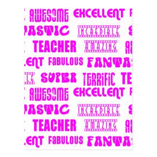 Cool Pink Modern Design 4 Teachers  Positive Words Post Card