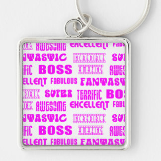 Cool Pink Modern Design for Bosses  Positive Words Key Chains