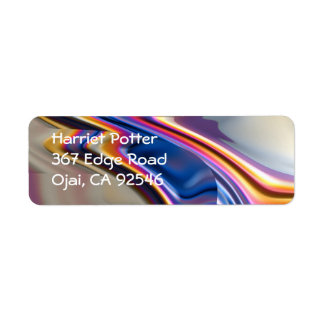 Cool Pink Purple Abstract Fractal Art Label