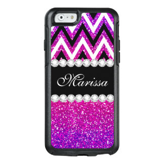 Cool Pink Purple Glitter B & W Chevron OtterBox iPhone 6/6s Case