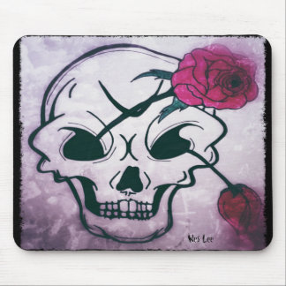 Cool Pink Rose Skull Mouse Pad