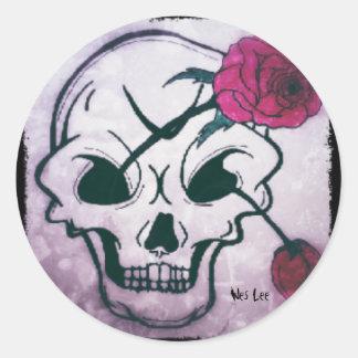 Cool Pink Rose Skull Round Sticker